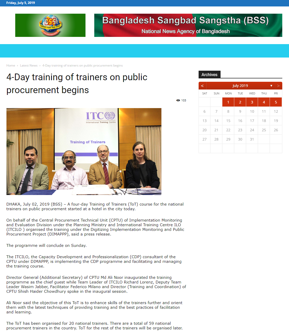 4-day training of trainers on public procurement begins